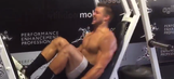 Fly, Eagles, Fly: Here's shirtless quarterback Tebow crushing flying leg press machine