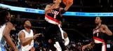 Watch Damian Lillard get this crunch-time shot blocked by a rookie