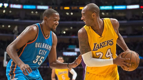 Kevin Durant with Kobe Bryant