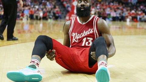 Harden takes a seat to show off the kicks