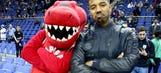 'Creed' star Michael B. Jordan poses with Raptors mascot in London