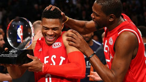 Kevin Durant with Russell Wetsbrook
