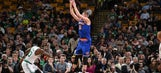 Kristaps Porzingis pulled a Steph Curry move with this trick shot