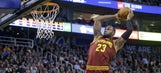 Watch LeBron flush home another off-target lob from J.R. Smith
