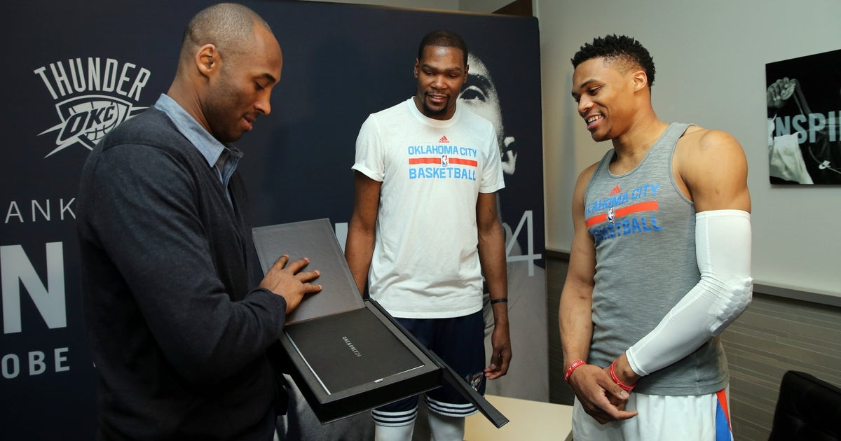 competitive price 3ca47 3257b Kevin Durant, Russell Westbrook present Kobe with a special retirement gift   FOX Sports