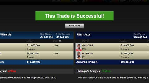 Jazz receive John Wall, Markieff Morris; Wizards receive Derrick Favors, George Hill and a 2018 first-round pick