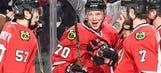 Blackhawks' Rasmussen scores in NHL debut, celebrates 'biggest day of my life'