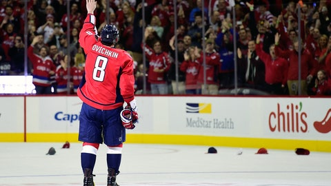 Ovechkin salutes the crowd at the Verizon Center
