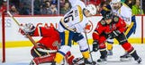 Flames' Dennis Wideman nails a linesman from behind with cheap shot