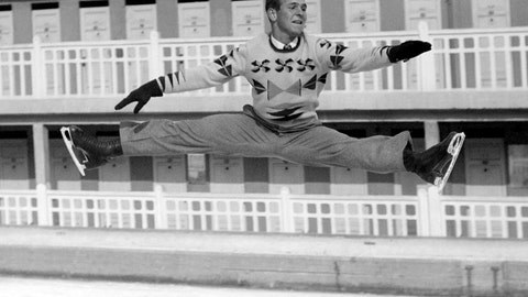 1948: Dick Button lands the first double axel