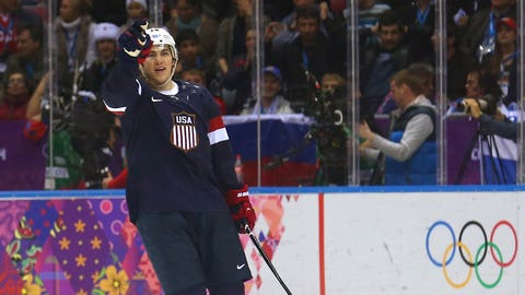 T.J. Oshie during the US-Russia hockey match