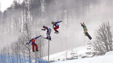 Snowboard cross goes flying