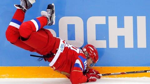 The Russian women take a fall