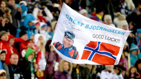 Raising the flag on Norway's Olympic king