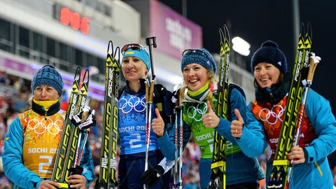 The Ukranian women's biathlon team