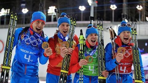 The Russian men's biathlon team
