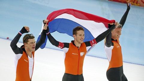 The Dutch men's speedskating pursuit team