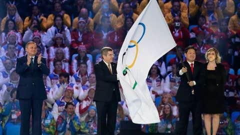 South Korea takes the flag