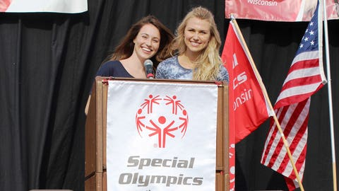 Sage and Chyna take the stage to welcome participants to the 2014 Special Olympics Wisconsin Summer Games during the Opening Ceremony. FOX Sports Supports Special Olympics.