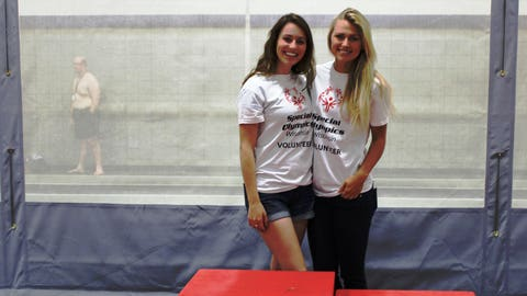 Sage and Chyna volunteered at the aquatics medal ceremony during the 2014 Special Olympics Wisconsin Summer Games.