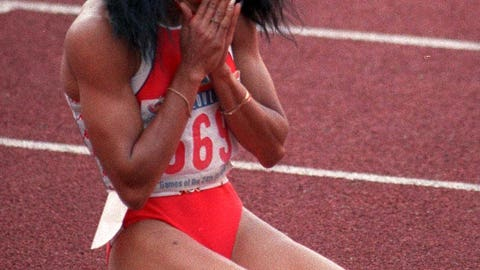 Florence Griffith-Joyner's 10.62 second 100-meter dash