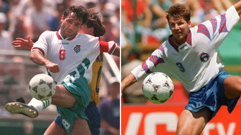 1994: Hristo Stoichkov, Bulgaria; and Oleg Salenko, Russia, 6 goals each