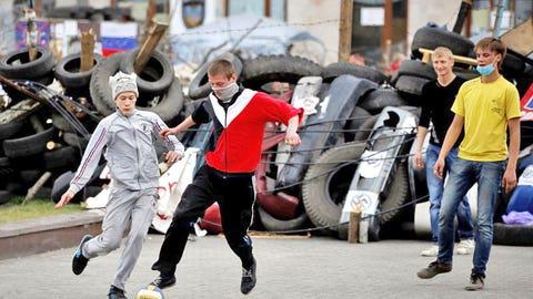 Street Soccer Amid Chaos