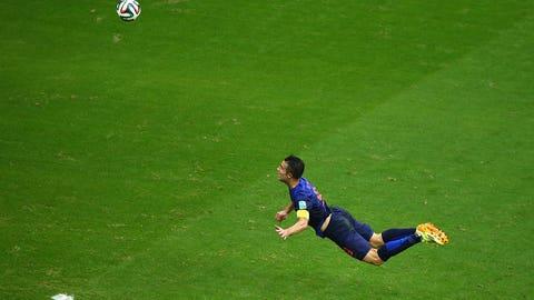 Robin van Persie's flying header vs. Spain (June 13)
