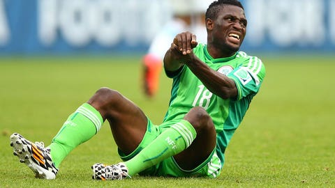 Nigeria teammate breaks Michael Babatunde's arm (June 25)