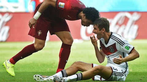 Pepe headbutts Thomas Muller (June 16)