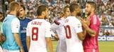 Nasty altercation between Pepe, Seydou Keita mars Real-Roma match