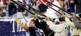 New England Revolution midfielder celebrates goal with imaginary musket