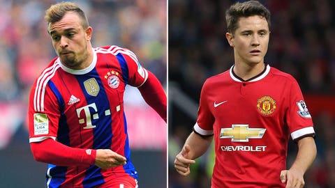 Xherdan Shaqiri (Bayern Munich) and Ander Herrera (Manchester United)
