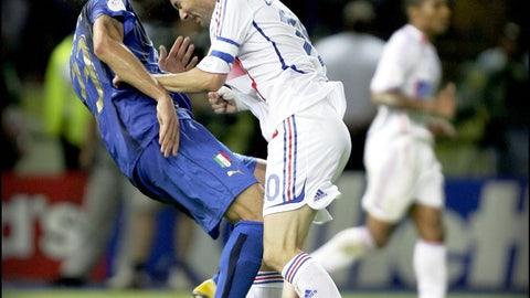 Zinedine Zidane head-butts Marco Materazzi at the 2006 World Cup final