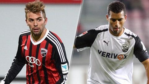 Alfredo Morales, Ingolstadt midfielder and Andrew Wooten, Sandhausen forward