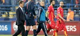 Russia's Akinfeev hit by flare in Euro qualifying match vs. Montenegro