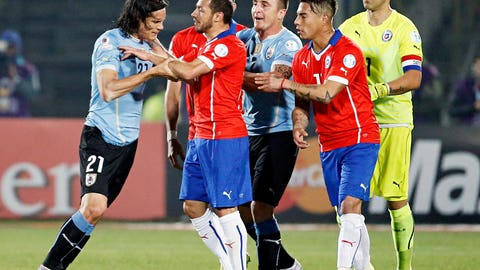 Controversy of the tournament: Gonzalo Jara and Edinson Cavani