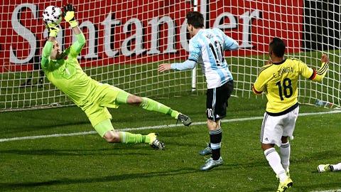 Save of the tournament: David Ospina vs. Sergio Aguero and Lionel Messi