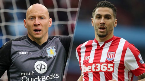 Brad Guzan, Aston Villa goalkeeper and Geoff Cameron, Stoke City defender