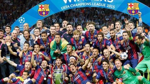 June 6 -- Barcelona beat Juventus to lift Champions League trophy, repeat the treble