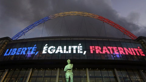 Nov. 17 -- England and France stand in solidarity