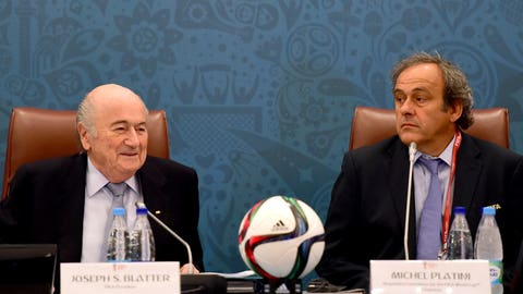 Naughty: Sepp Blatter and Michel Platini