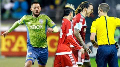Naughty: Clint Dempsey and Jermaine Jones