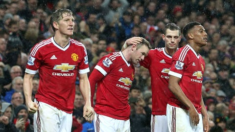 Sign of the times? United celebrate win over a minnow