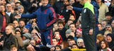 Louis van Gaal takes spectacular 'dive' in debate with fourth official