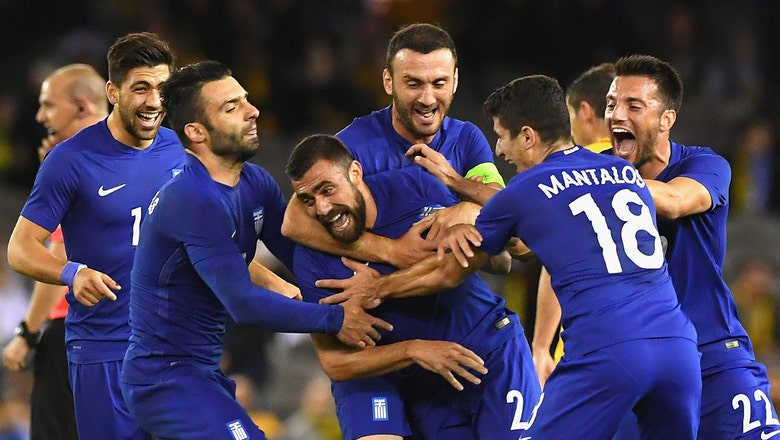 Greece's Maniatis scores vs. Australia from inside his own half