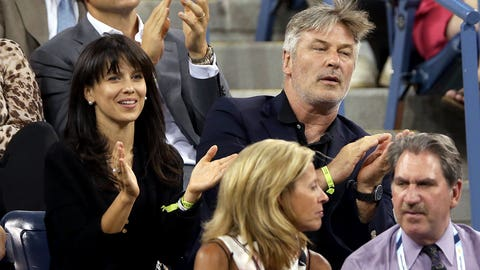 Actor Alec Baldwin (right) and wife Hilaria Thomas