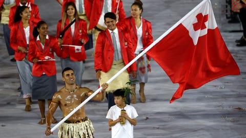 Tonga's flag bearer