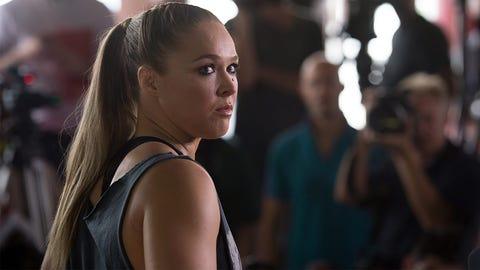 Ronda Rousey hosts media day and open workout at her gym in Glendale