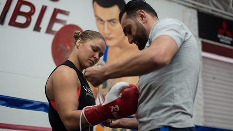 Ronda Rousey hosts media day and open workout